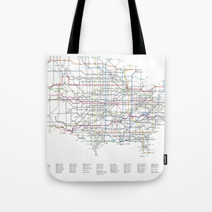 As A Subway Map.U S Numbered Highways As A Subway Map Tote Bag