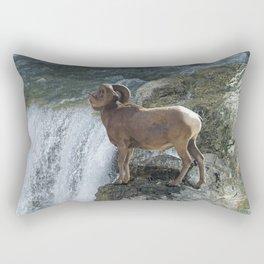 Big Horn Sheep & Rocky Mountain Waterfall Rectangular Pillow