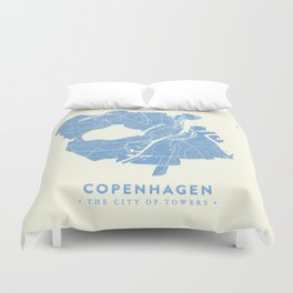 Copenhagen Map Duvet Cover