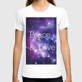 Peace & Love Space purple blue T-shirt