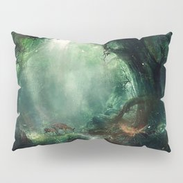 Gorgeous Gracious Deer Mother And Kid Grazing In Magical Forest Clearing Ultra HD Pillow Sham