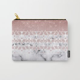Modern Rose Gold White Marble Geometric Ombre Carry-All Pouch