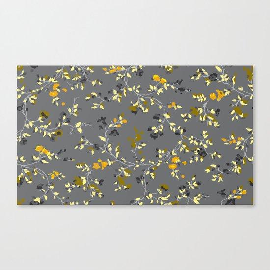 floral vines - greys, mustards & greens Canvas Print