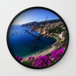 Harbor - Cote d'azur, France Landscape Painting by Jeanpaul Ferro Wall Clock