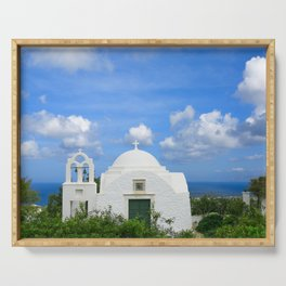 Traditional Old Greek Church in Fira on Santorini Serving Tray