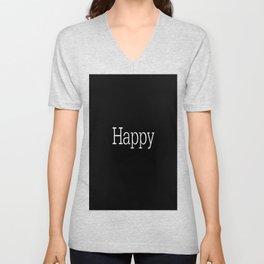 HAPPY! Black & White Unisex V-Neck
