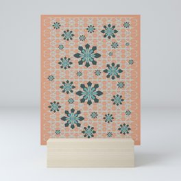 SNOW FLAKES WITH PINK BACKGROUND Mini Art Print