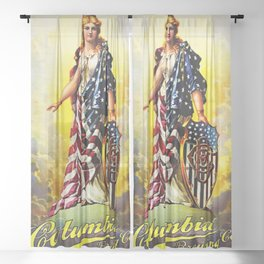 Vintage 1896 Columbia Brewing Company Lithograph Wall Art Sheer Curtain