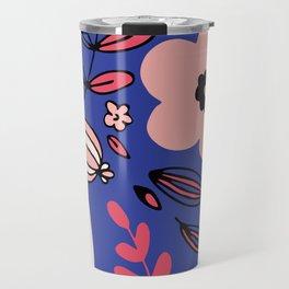 Fantasy flowers on blue Travel Mug