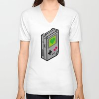 gameboy V-neck T-shirts featuring Gameboy Love by Artistic Dyslexia
