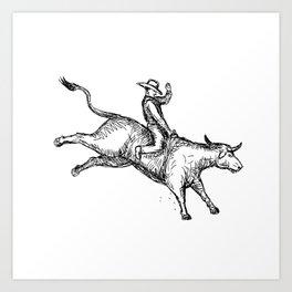 Bull Riding Rodeo Cowboy Drawing Art Print