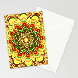Colorful flower striped mandala Stationery Cards