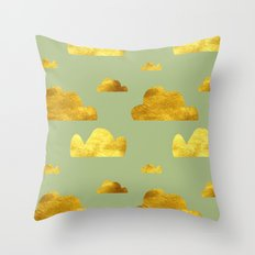 Gold Clouds green Throw Pillow