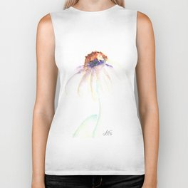 Daisy. Echinacea. watercolor Biker Tank