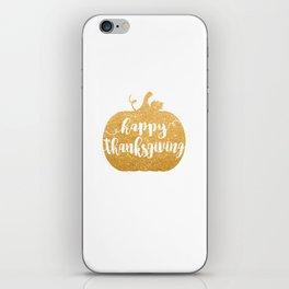 Happy Thanksgiving | Orange Glitter Pumpkin iPhone Skin