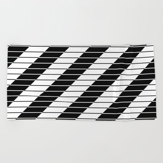 Simply Black And White (Abstract, geometric design) Beach Towel