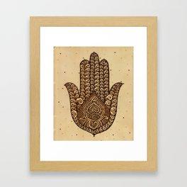 Khamsa Henna Hand Framed Art Print