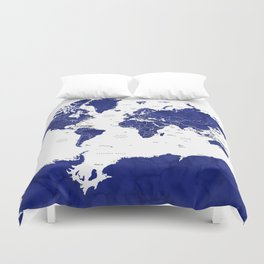 Navy blue world map with countries Duvet Cover