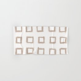 Square Stroke Dots Nude on White Hand & Bath Towel