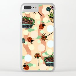 ladybirds are coming into my garden Clear iPhone Case