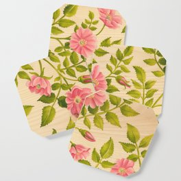 Pink Wild Rose on Wood Panel Coaster