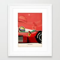 f1 Framed Art Prints featuring Michele Alboreto - F1 1985 by Evan DeCiren