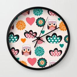Owls and hearts Wall Clock