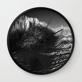 Fencing On The Beach Wall Clock