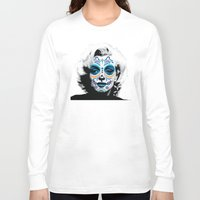marylin monroe Long Sleeve T-shirts featuring Marylin de los Muertos 2 by jazzyjules63