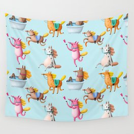 Cute and Whimsical Horse Pattern on Light Blue Wall Tapestry