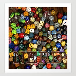 Role Playing Game Dice - NERD Art Print