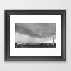 Venice in a storm, black and white 2 Framed Art Print
