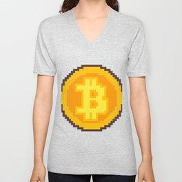 Pixel art Bitcoin coin Unisex V-Neck