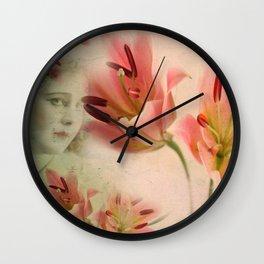 Hidden under the flowers Wall Clock