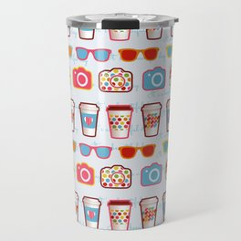 Coffee cup pattern - sunglasses - photocamera - colorful hipster pattern - have a nice day Travel Mug