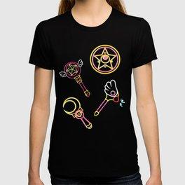 magical girls neon pattern T-shirt
