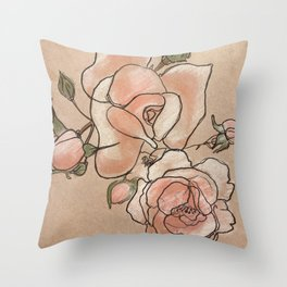 Pink Roses in Bunch Throw Pillow