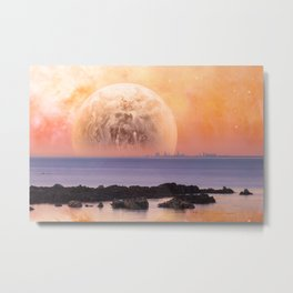Fantasy landscape - modern city skyline across sea with rock formations on the foreground Metal Print