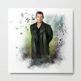 The Ninth Doctor, oil on watercolor Metal Print