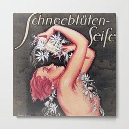 Snow-Blossoms Schneebluten-Seife Skincare German Vintage Advertising Poster Metal Print