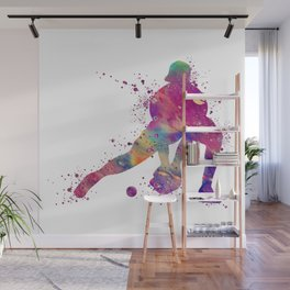 Baseball Girl Catcher Colorful Purple Watercolor Wall Mural
