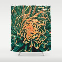 Green & orange succulent Shower Curtain