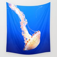 jelly fish Wall Tapestries featuring Swimming Jelly by tracy-Me