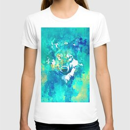 Teal yellow hand painted watercolor wolf T-shirt