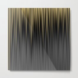 Modern Yellow and Black Jagged Ribbed Stripe Pattern Metal Print