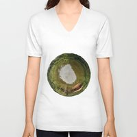 planet V-neck T-shirts featuring Planet by Goga