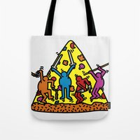 keith haring Tote Bags featuring Keith Haring & Turtle by le.duc