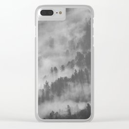 Vintage Black & White Photo Of A Mountain Forest With Mist Clear iPhone Case