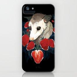 Strawberry Opossum by Alison Polston iPhone Case