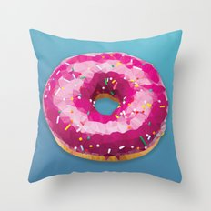 Lowpoly Donut Throw Pillow